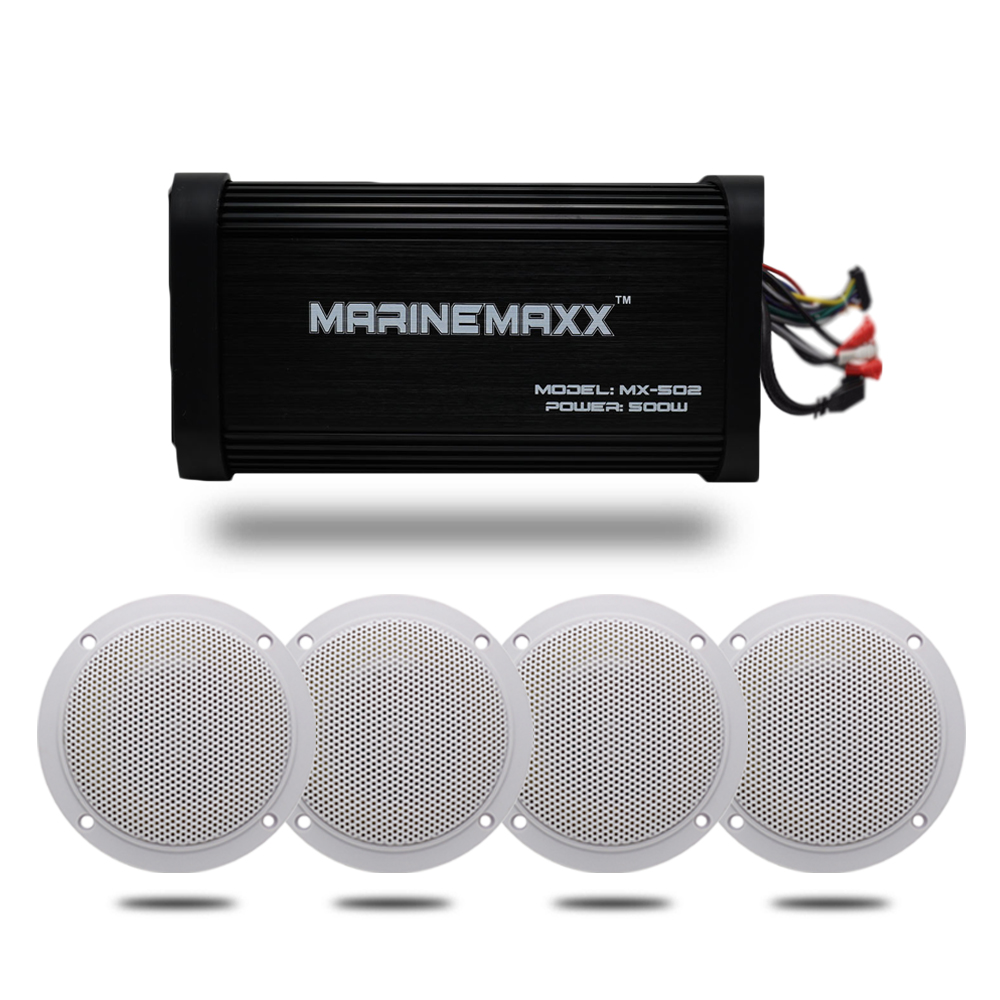 Bluetooth Amplifier Marine Boat Audio Car 500W 4 Channel Stereo Waterproof Motorcycle USB MP3 AUX RCA