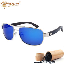 New fashion natural wood sunglasses handmade wooden arms polarized mirror lenses driving sun glasses for unisex 1701