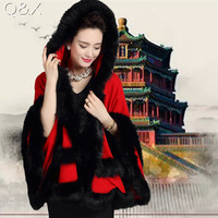 SC58 2017 Autumn Winter Women Black Faux Fox Fur Cashmere Poncho For Wedding Knitted Imitation Plus Size Bridal Shawl With Hat