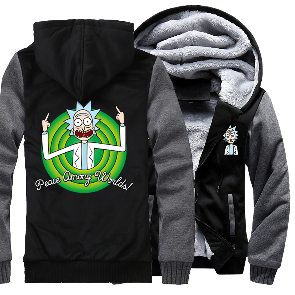 Sweatshirts Men RICK AND MORTY Peace Among Worlds Print Hoodies 2018 Thick Hoody Punk Tracksuits Hoodie Harajuku Sweatshirt Hot