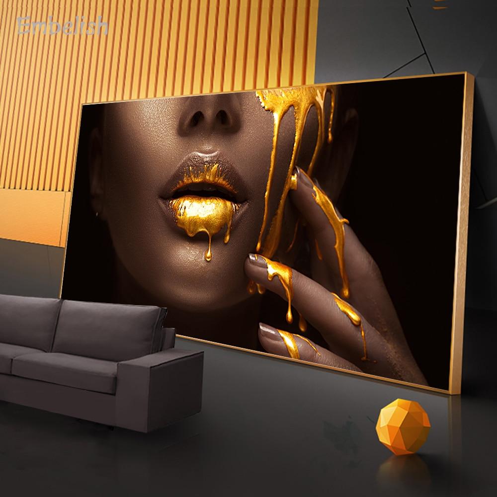 Embelish 1 шт. большие настенные художественные картины для гостиной женское лицо с золотой жидкостью домашний декор Плакаты HD холст картины|Рисование и каллиграфия|   | АлиЭкспресс