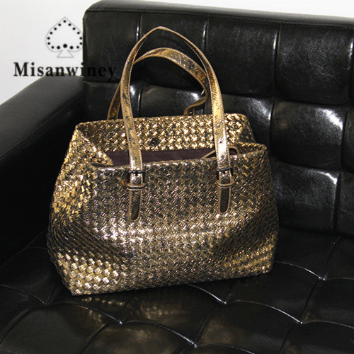 Misanwiney Fashion Hand-Weaving Women handbag\Tote bag 2018 New Leather Ms. Casual Shoulder bag Travel Bag~Star models