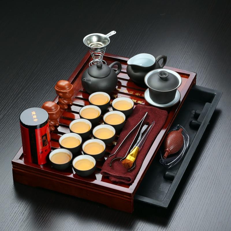 Sales promotion Yixing Purple Clay Kung Fu Tea Set Solid Wood Tea Tray Teapot Tea cups