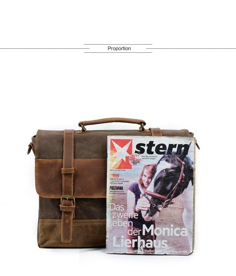 """HTB1CuHBSCzqK1RjSZFLq6An2XXam M275 Mens Messenger Bag Waterproof Canvas Leather Men Vintage Handbags Large Satchel Shoulder Bags 14"""" Computer Laptop Briefcase"""