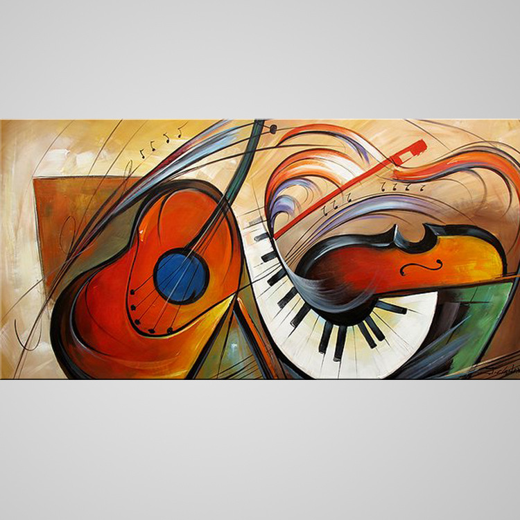 Handmade Painting Abstract Musical Guitar Painting Image