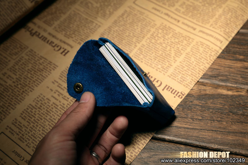 Cow Leather Real Leather Credit card holder business card wallet blue  (4)