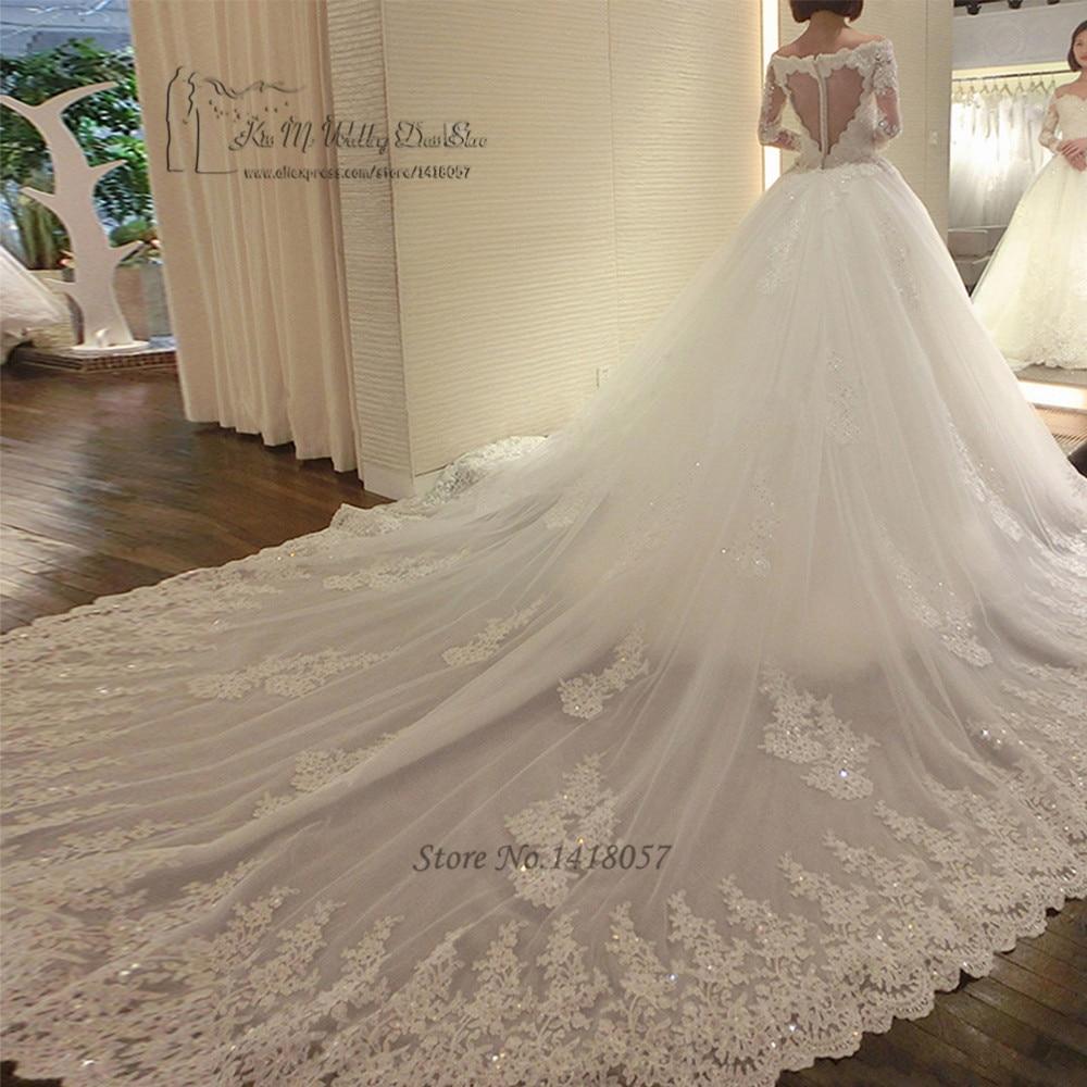 5b7e914502 US $193.44 22% OFF Luxury Long Train Wedding Dress Vestido de Renda  Casamento Princess Wedding Gowns Sequin Long Sleeve Lace Bride Dresses  2017-in ...