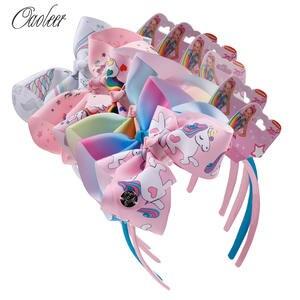 Headband Hair-Accessories Rainbow-Printed Boutique Girl Children Ribbon Fashion Cartoon