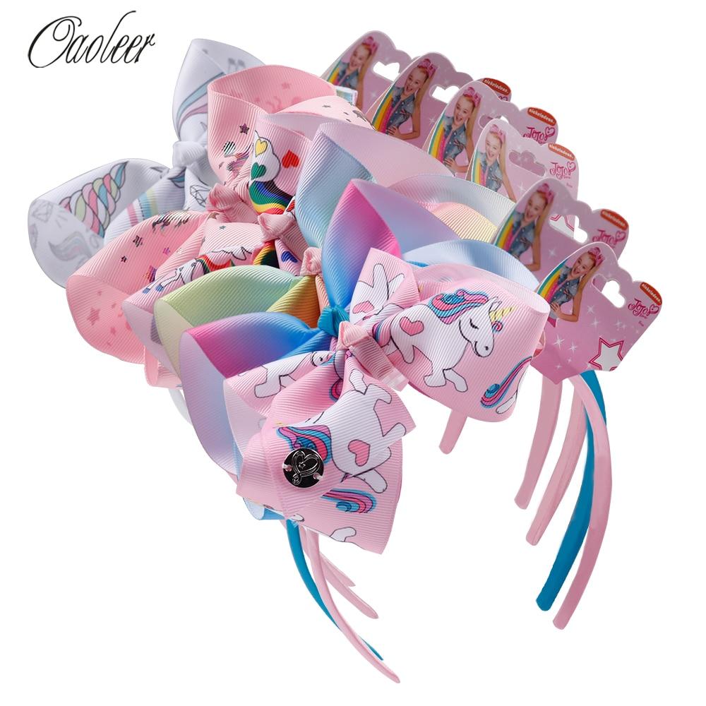 Fashion Girl Cartoon Hair Bow Headband Boutique Rainbow Printed Handmade Ribbon Hairbands Children Hair Accessories