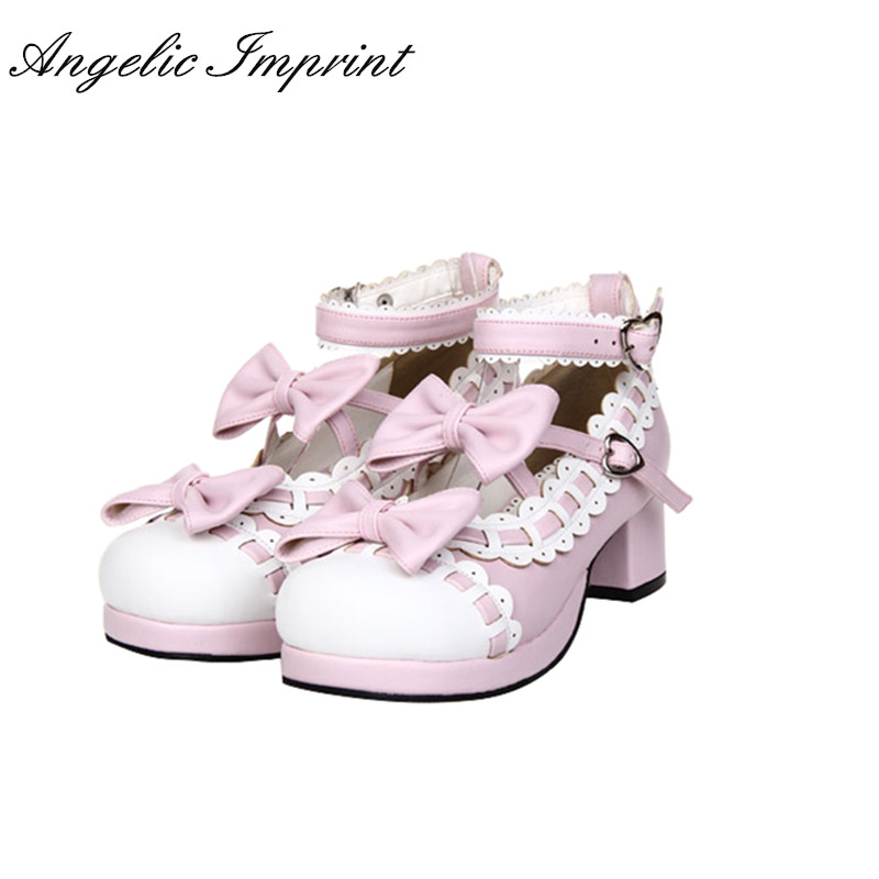 4.5cm Heel Pink & White Sweet Lolita Mary Jane Shoes Pumps Princess Girls Tea Party Shoes new arrivals pale pink shiny leather kawaii rabbit ankle strap sweet lolita shoes 5 5cm heel pumps