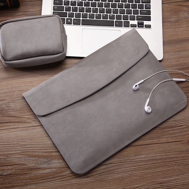 Vmonv Ultra Thin PU Leather Laptop Sleeve Bag Case For Macbook Air Pro Retina 11 12 13 15 Liner Sleeve Bag With Small Power Bag