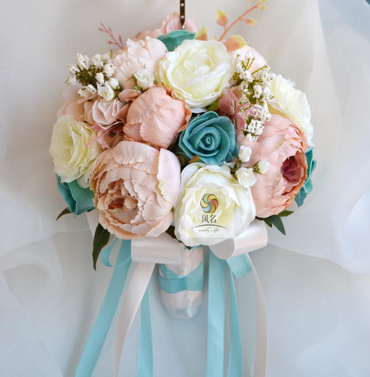 wedding flower bridal bouquet silk flower bouquet champagne vintage blue hydrangea peony roses. Black Bedroom Furniture Sets. Home Design Ideas