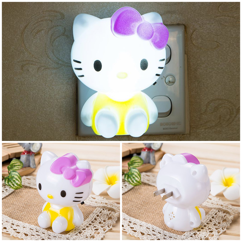 Mainifire Night Lamp With US Plug Hello Kitty LED Night Light AC220V Cartoon Gifts For Kid/Baby/Children Bedroom Bedside Lamp