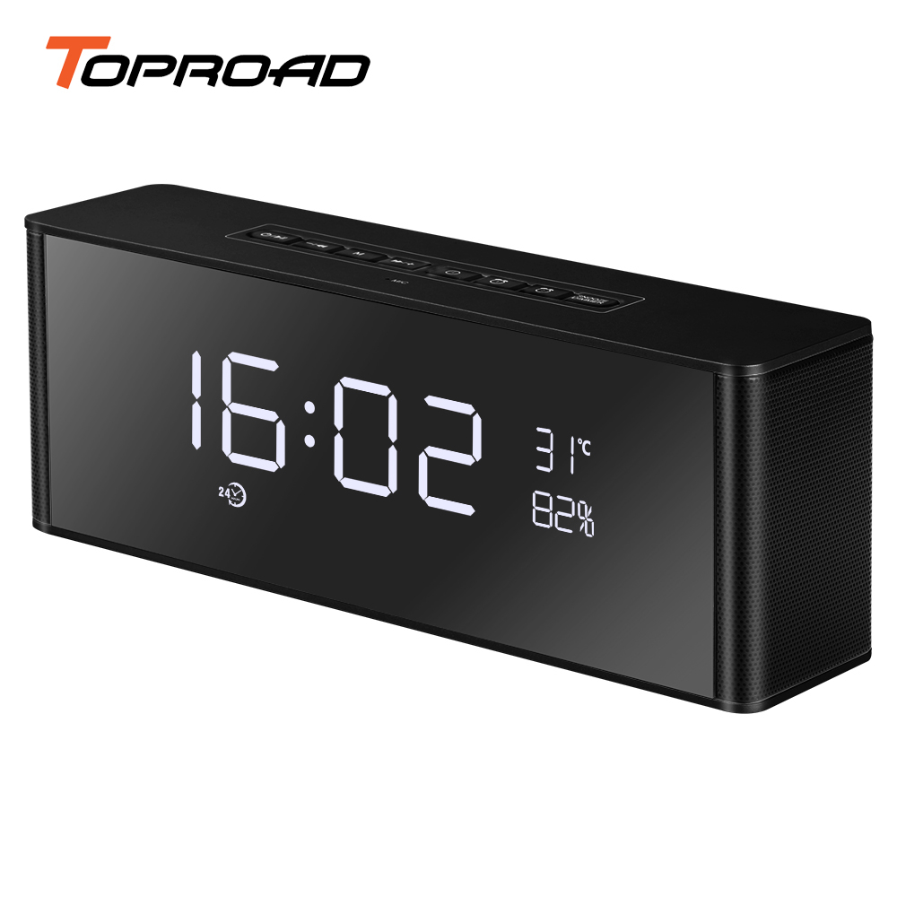 TOPROAD Alarm Clock Bluetooth Speaker Portable Wireless 3D Surround Stereo Speakers