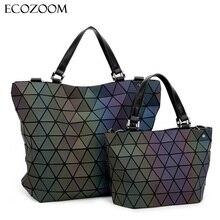 Women Bucket Bag Geometric Sequins Mirror Saser Plain Folding Quilted Shoulder Bags Luminous Handbag Casual Tote