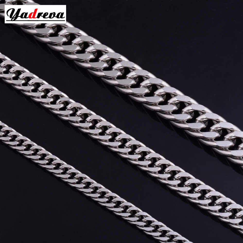 Stainless Steel Gold Sliver Necklace Waterproof Men woman Cuban Curb Link Chain Stainless Steel Jewelry 5mm-6mm-9mm Widthes Vari