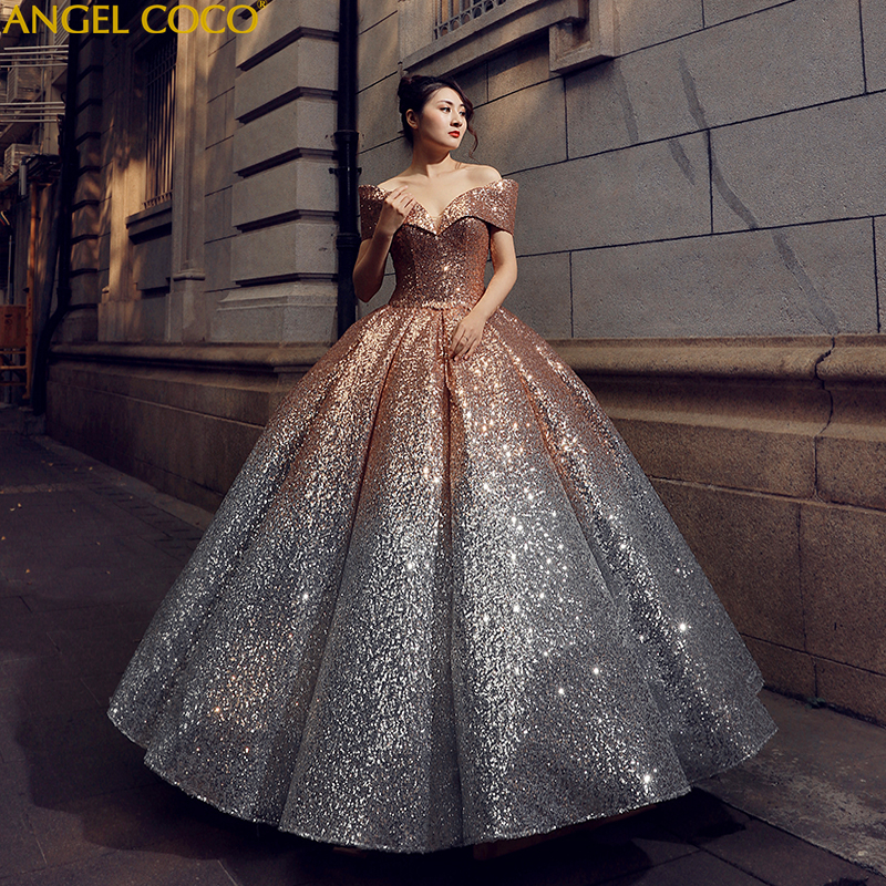 2019 New Pregnant Bride Gold And Silver Gradient Sequins Bling Bling Luxury Robe De Mariage Pregnancy Maternity Wedding Dress
