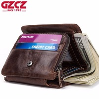 GZCZ 2019 Genuine Leather Men'S Wallets Thin Male Wallet Card Holder Cowskin Soft Zipper Poucht Short Clamp For Money Portomonee