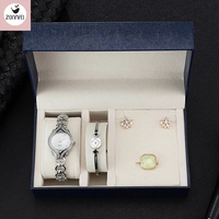 4 Pcs Women Bracelet Watch Set Diamond watch Steel Bracelet Crystal earrings Ring With Watch box Big Gift Set for Ladies gifts
