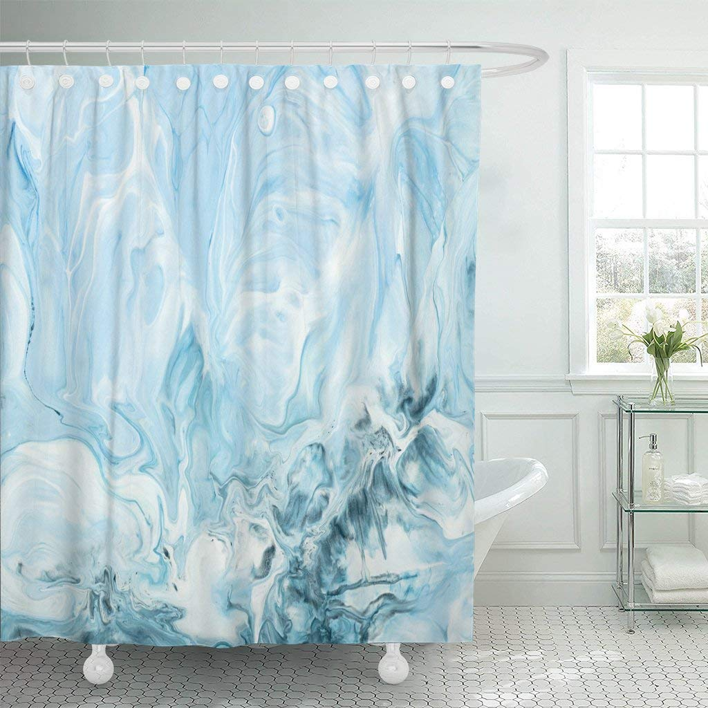 Shower Curtain with Hooks Blue Marble Abstract Hand Close Up Fragment Liquid Painting on Canvas Contemporary Bathroom
