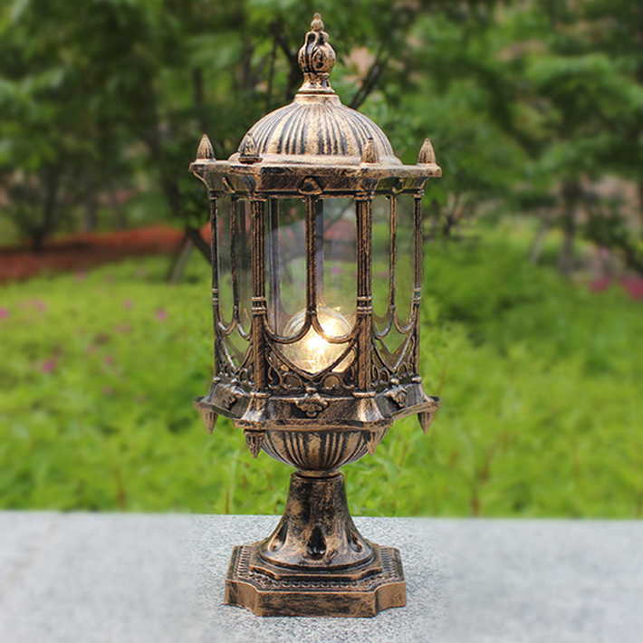 110v 220v 12v 24v Ip65 Bronze Antique Brass Retro Vintage Classic Landscape Outdoor Waterproof Bollard Light Lamp Fence Light
