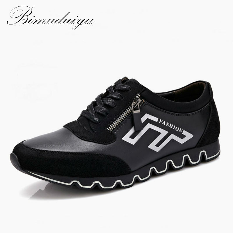 ФОТО BIMUDUIYU Brand Spring Autumn All Matching Family Men's Leather Casual Shoes Luxury Brand Flat Soft Walking Wear Leisure Shoes