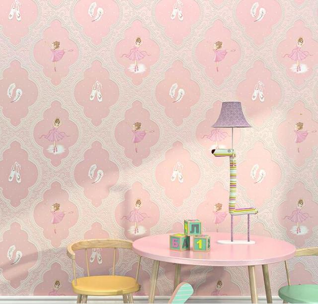 Ballet Fille Rose Papier Peint 3d Pour Chambre Pourpre Mur Rouleau