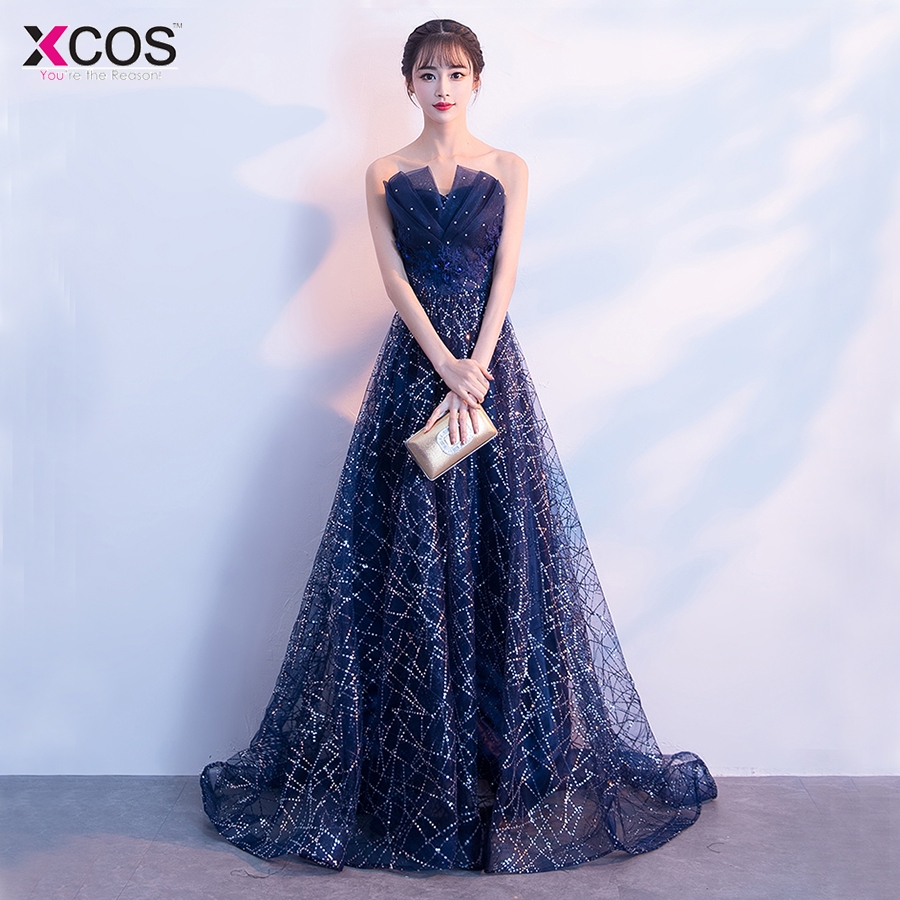 2018 New Arrival Long   Prom     Dresses   Luxury Beaded Sleeveless Glitter Tulle Formal Evening   Dress   Party Gown