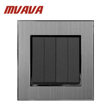 MVAVA 4 Gang 1 Way 16A AC 110-250V EU UK Standard Brushed Silver Metal Button Hotel Lighting Switch Free Shipping