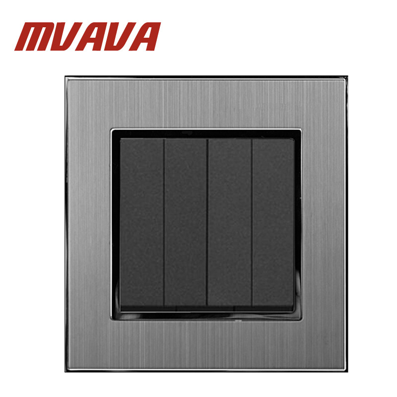 MVAVA <font><b>4</b></font> <font><b>Gang</b></font> 1 Way 16A AC 110-250V EU UK Standard Brushed Silver Metal <font><b>4</b></font> <font><b>Gang</b></font> Button Hotel Lighting <font><b>Switch</b></font> Free Shipping image