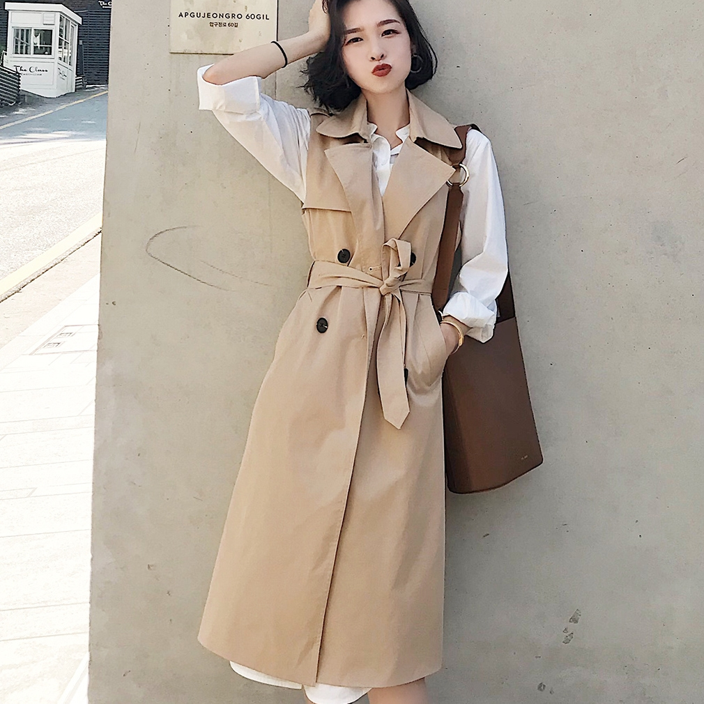 Women Autumn Spring Vest Coat Lady Wear Long Waistcoat Women Coat Casual Bandage Sleeveless Solid Color Vest Jacket Plus Size