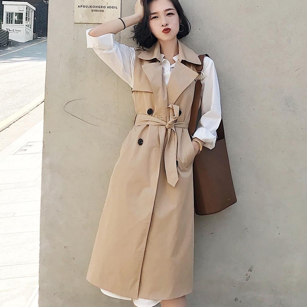 Women Autumn Spring Vest Coat Lady Wear Long Waistcoat Women Coat Casual Bandage Sleeveless Solid Color Vest Jacket Plus Size