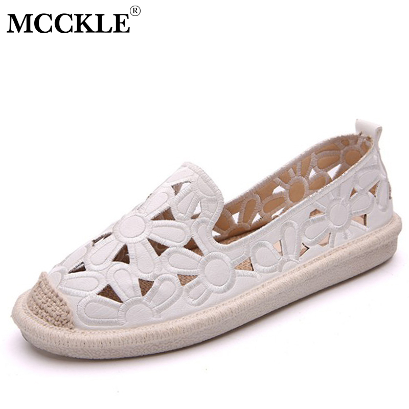 MCCKLE Women Flat Shoes Cuts Out Flower Loafers Moccasin For Female Espadrilles Platform Summer Casual Fisherman Shoe Footwear mcckle female flat shoes women cut outs autumn espadrilles fashion flock buckle strap sewing flats casual solid footwear shoe