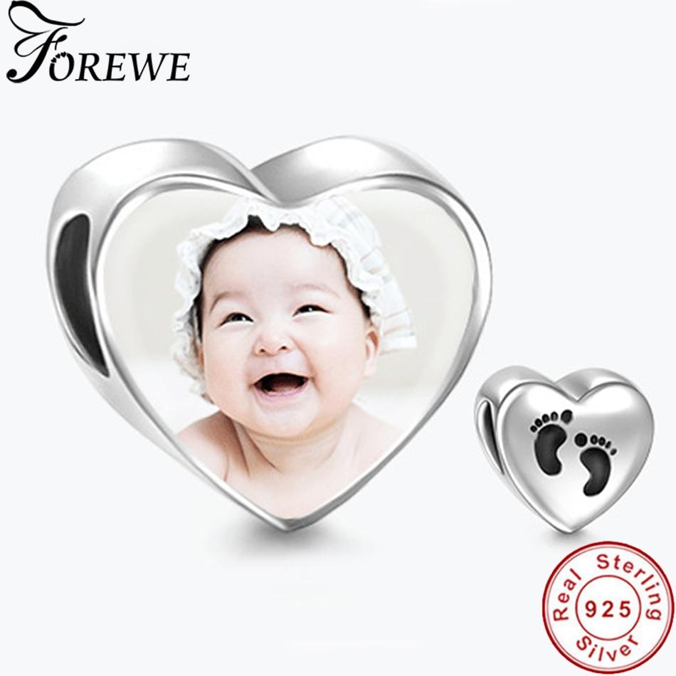 acdb8ad750f1 925 encantos de plata esterlina Fit Pandora pulsera personalizado foto para  papá mamá bebé niños de foto personalizado de regalo de la joyería