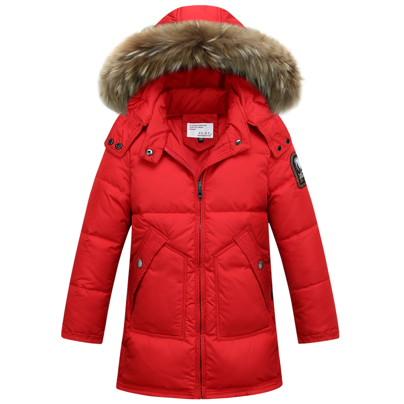 2017 New Children's Duck Down Coat For Boys Girls Winter Thick Warm Parka With Soft Big Fur Collar Fashion Kids Long Down Jacket russia winter boys girls down jacket boy girl warm thick duck down