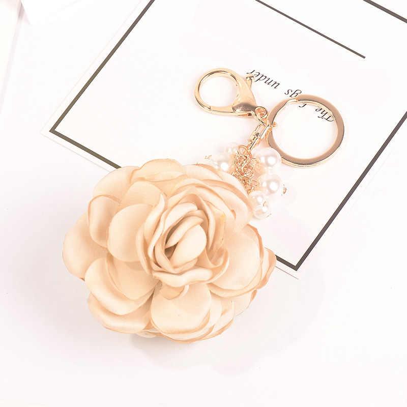 Vải hoa ngọc trai vòng chìa khóa voan tua rua xe Móc chìa khóa nữ cặp đôi túi đồ trang trí sáng tạo thời trang Charm Hoa Móc Khóa F34