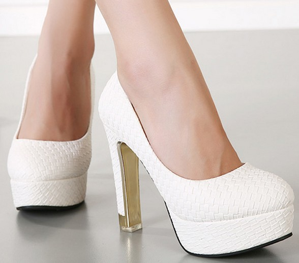 6ea6db04a10 High-heeled shoes thick heel white wedding shoes princess sexy shoes  platform shoes low-top