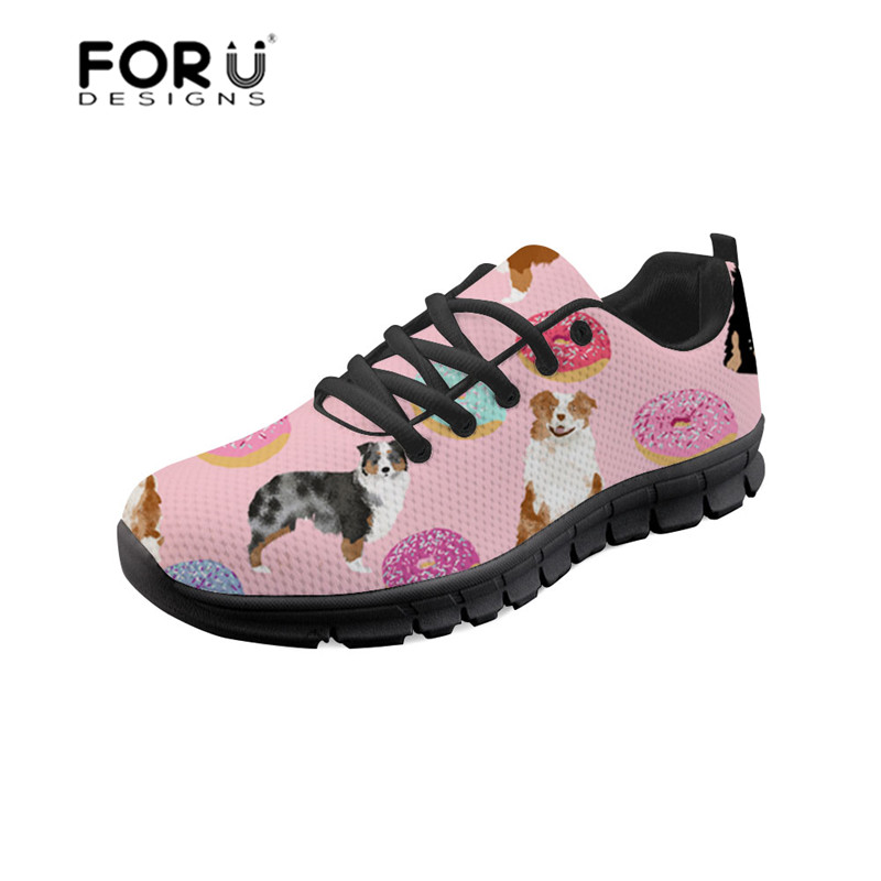 FORUDESIGNS Women Flat Shoes Australian Shepherd Printing Breathable Ladies Shoes Platform Sneakers Female Mesh Flats Shoes Girl