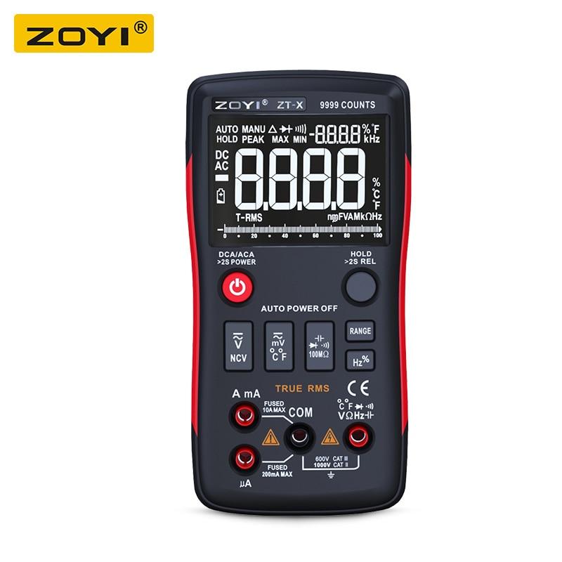 где купить ZOYI ZT-X True-RMS AUTO Range Digital Multimeter AC/DC Voltmeter Ammeter button 9999 counts NCV DATA HOLD LCD backlight display дешево