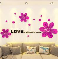 NEW Creative Sun Flowers 3D Crystal Acrylic Wall Stickers for entrance living room TV sofa backdrop decorative wall painting