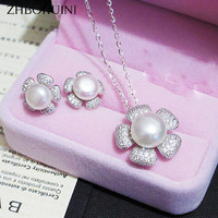 ZHBORUINI Fashion Necklace Pearl Jewelry set Natural Freshwater Pearl 925 Sterling Silver Flower Earrings Pendant For Women Gift