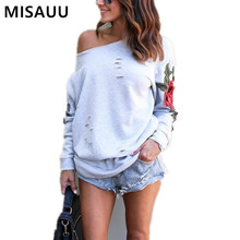 MISAUU S-5XL Long Sleeve Sexy Off Shoulder Casual Sweatshirt Women's Floral Print Fashionable Embroidery Pullovers Plus Size plus open shoulder sweatshirt