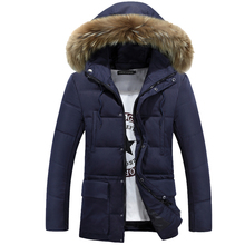 HZF 2017 Men Winter Jackets Coats Parkas Men's Casual Artificial Fur Collar Slim Jackets High Quality Long Padded M-3XL