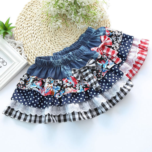 Kids skirts for girls sweet lace dot bow skirts wholesale Girl children's clothes AX05