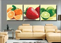 Frameless Picture DIY Painting By Numbers 3 Piece Still Life Fruits Orange Strawberry Home Decor Wall