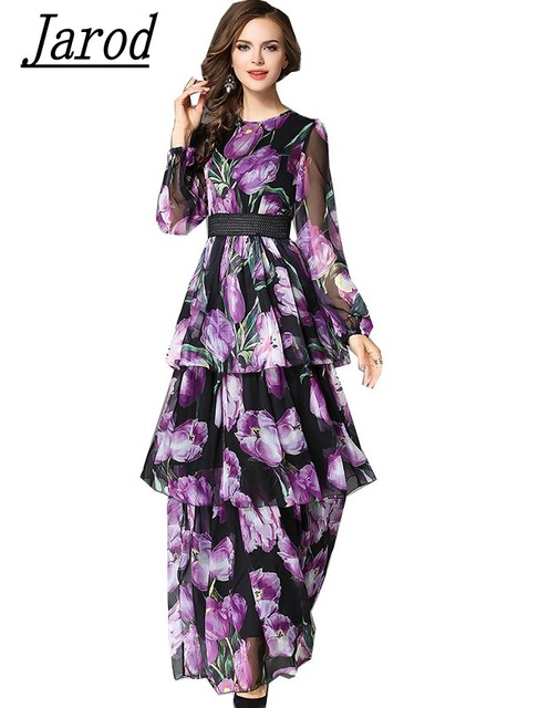 Runway new spring floral print chiffon cake dress 2018 elegant runway new spring floral print chiffon cake dress 2018 elegant ruffles long maxi evening party dresses mightylinksfo