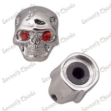 Skull head electric guitar volume knob cap with hole metal potentiometer cap gun black, silvery or golden