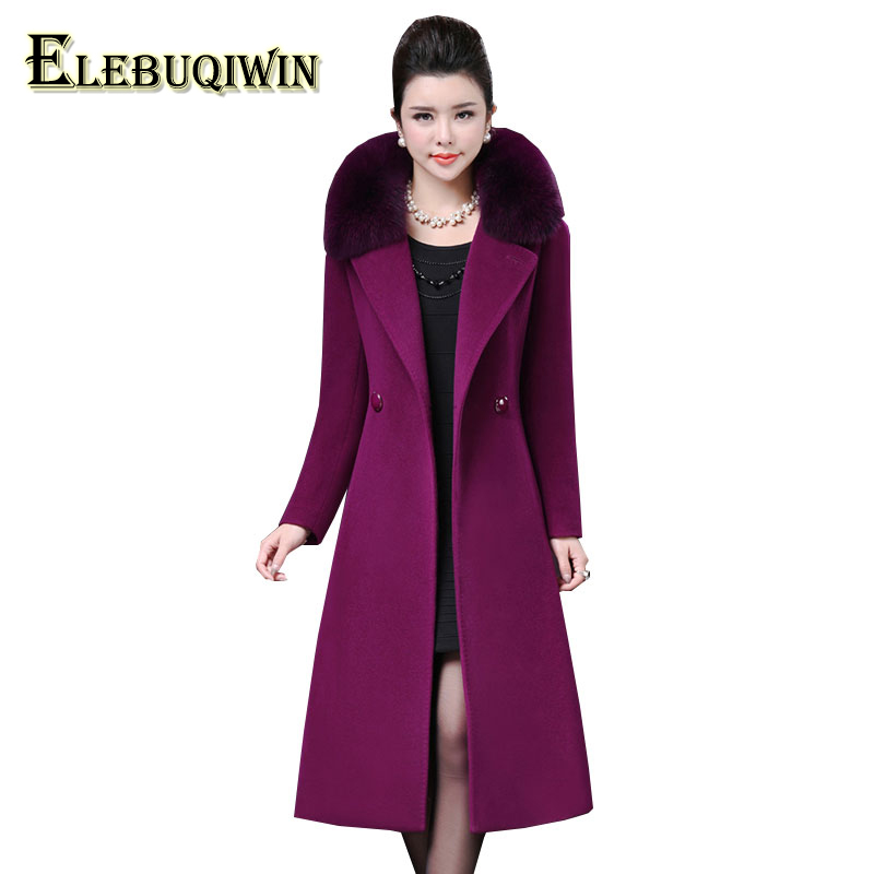 Plus size 4XL Middle aged Womens Woolen Coat Winter 2018 New Imitation Fox Fur Collar Wool Overcoat Long Slim Woolen Jacket LS10 ...