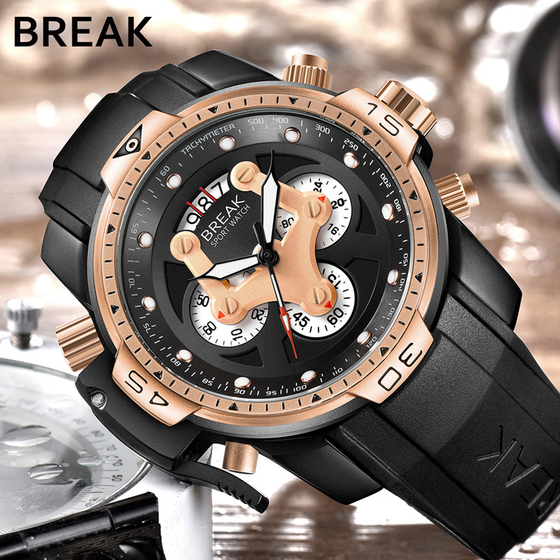 BREAK Mega Men Top Luxury Brand Rose Gold Casual Fashion Rubber Band Military Sport Wristwatches Man