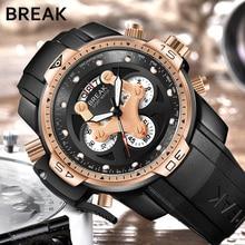 BREAK Men Top Luxury Brand Casual Fashion Rubber Band Military Sport Wristwatches Man Quartz Chronograph Army Waterproof Watches